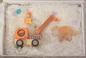 Construction Vehicle and Dinosaur Box