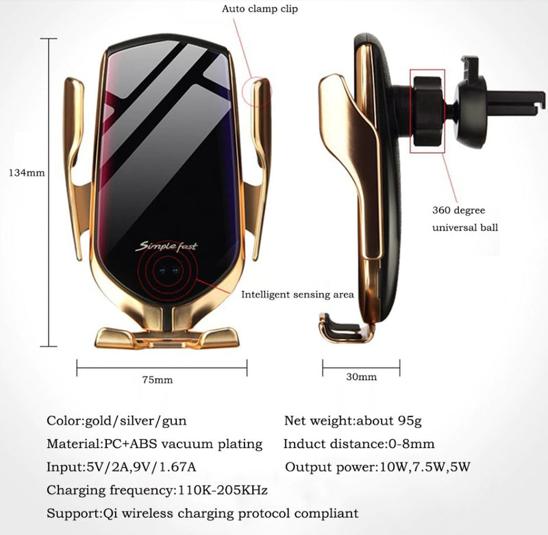 1 10 W Auto Clamping Car Wireless Chargers TeamTropheaumStore