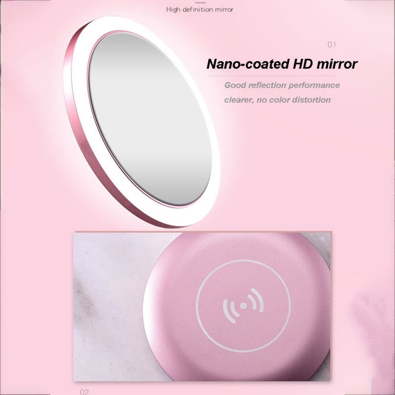 LED Compact Mirror With Built-in Wireless Phone Charger - TeamTropheaumStore
