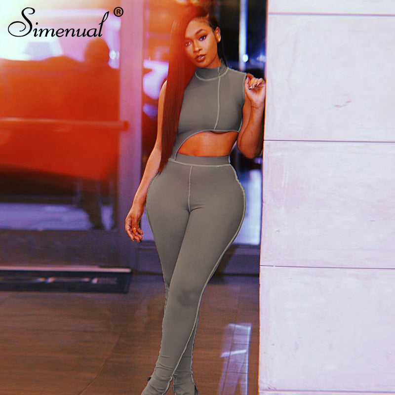 Simenual Casual Sporty Active Wear Matching Set Women Sleeveless Workout Bodycon 2 Piece Outfits Skinny Crop Top and Pants Sets