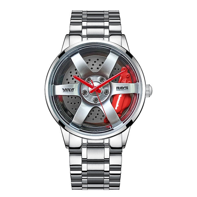 1 Silver Red Luxury New Man Fashion Car Rim Watch