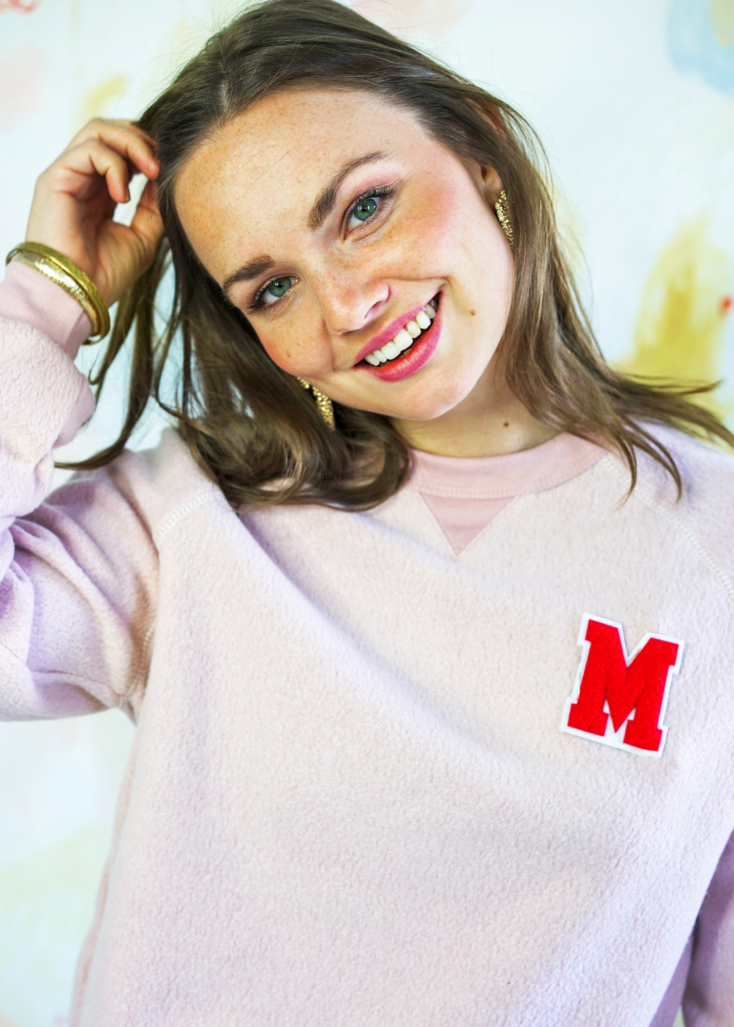 Custom Varsity Sweatshirt in Pink