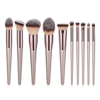 Glamwinks 10-Piece Premium Champagne Makeup Brush Set