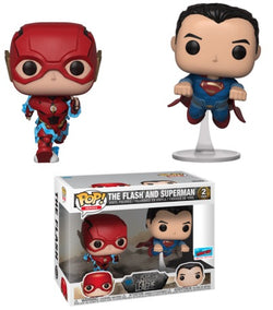 DC Funko Pop! The Flash and Superman (Racing) (Shared Sticker) (2-Pack)