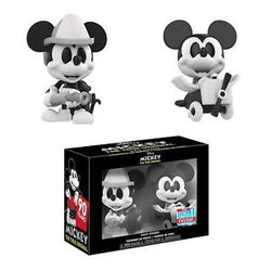 Disney Mickey Mouse Funko Mini Vinyl Firefighter & Plane Crazy Mickey (Black & White) (2-Pack) (Shared Sticker)