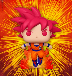 Dragon Ball Super Funko Pop! SSG Goku (with Flames) (2020 Shared Sticker) #827 (Pre-Order)