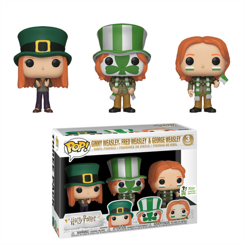 Harry Potter Funko Pop! Ginny Weasley, Fred Weasley & George Weasley (at Quidditch) (Shared Sticker) (3-Pack)