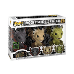 Game of Thrones Funko Pop! Drogon, Viserion, & Rhaegal (in Eggs) (Shared Sticker) (3-Pack) (Pre-Order)