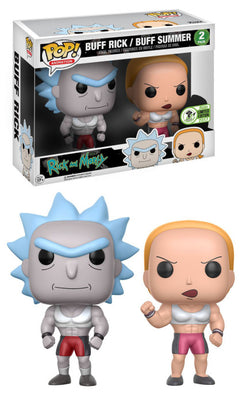 Rick and Morty Funko Pop! Buff Rick & Buff Summer (Convention Sticker) (2-Pack)