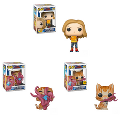 Captain Marvel Funko Pop! Complete Set of 3 Wave 2 CHASE Included (Pre-Order)
