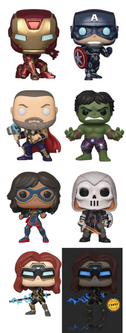 Marvel's Avengers (Video Game) Funko Pop! Complete Set of 8 CHASE Included (Pre-Order)