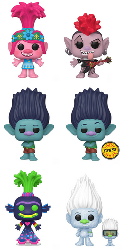 Trolls World Tour Funko Pop! Complete Set of 6 CHASE Included (Pre-Order)