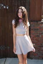 chic sweetheart set taupe top skirt