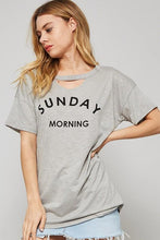 sunday morning graphic tee shirt grey