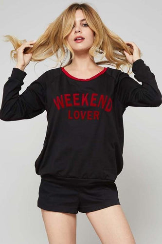 crew neckline graphic sweatshirt black