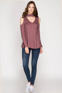 keyhole long sleeve top red bean