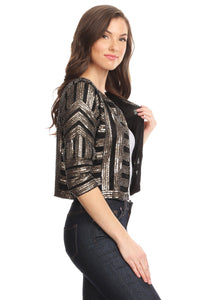 Sequined Cropped Jacket