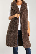 fuzzy long brown vest