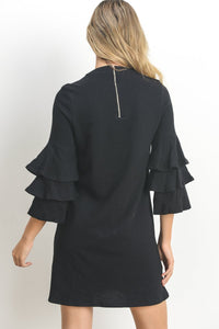 Ashley Black ruffle sleeve shift dress - back view - 3