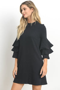 Ashley Black ruffle sleeve shift dress - front view - 4