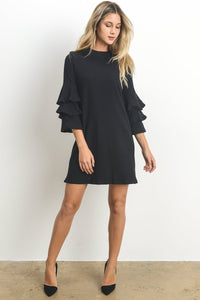 Ashley Black ruffle sleeve shift dress - front view - 1