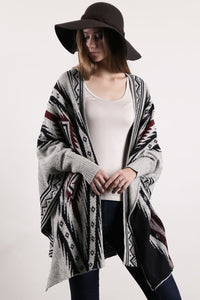 loose fit long sleeve striped poncho grey