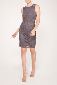 Lace Crochet Grey Dress