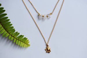 double necklace lotus moonstone