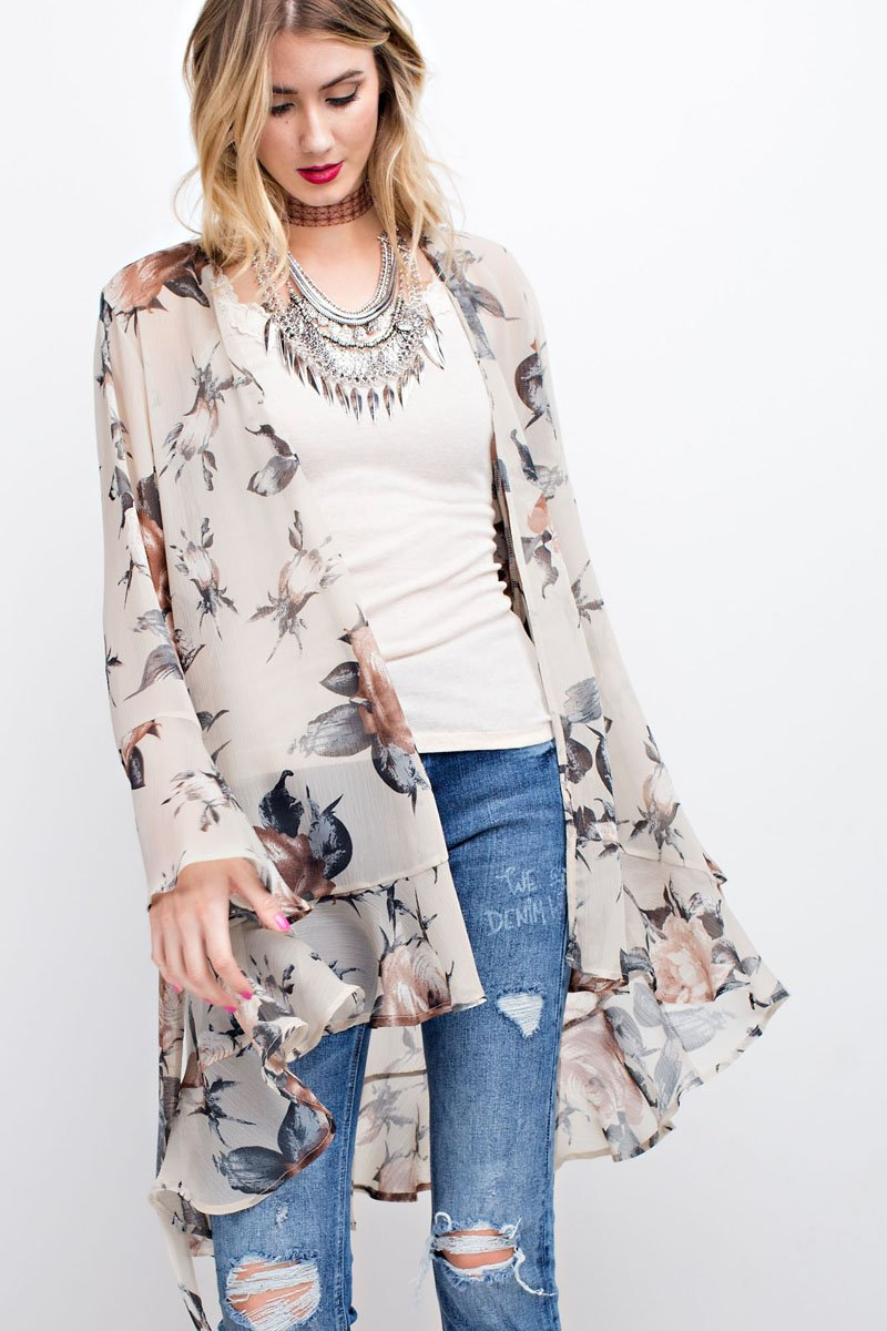 ruffled bottom open kimono natural floral