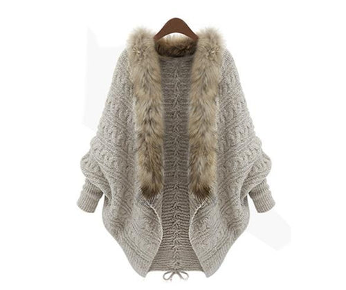 Kathryn Faux Fur Cardigan Sweater - Sweet Glitter Rock