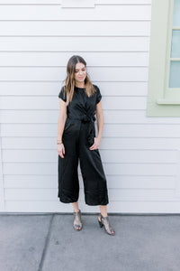 Satin Jumpsuit with tie