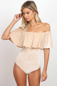 flounced bodysuit cream