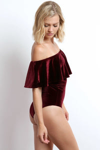 flounced bodysuit burgundy