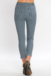 pinstriped pants blue ivory