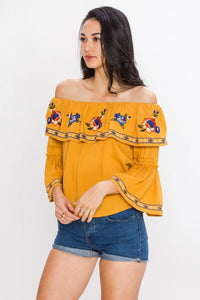 off shoulder long sleeve embroidery top mustard