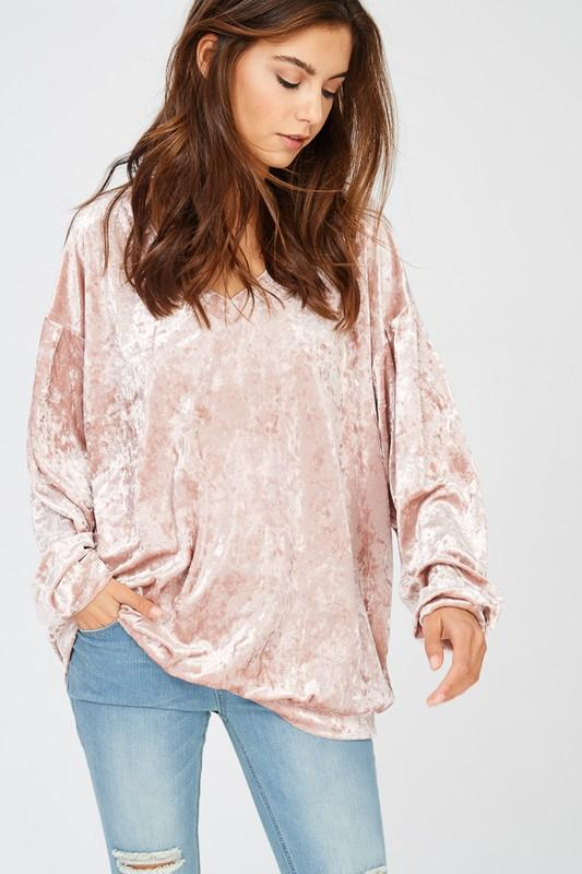 Penny Ice Velvet V-Neck Top - Sweet Glitter Rock
