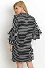 Ashley Stripe Ruffle Sleeve Dress - Sweet Glitter Rock