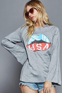 made in USA long bell sleeve top grey