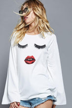 eyelash pout bell sleeve top