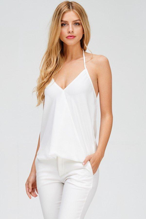 crystal halter top off white