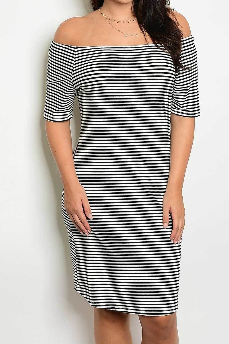 striped off shoulder bodycon dress black curvy