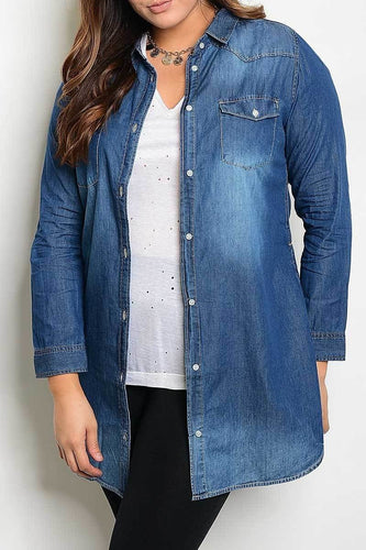 denim long sleeve top curvy