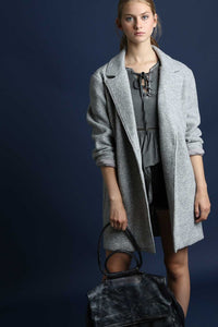open front oversized wool coat grey