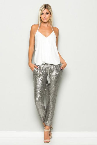 silver sequins joggers / pants