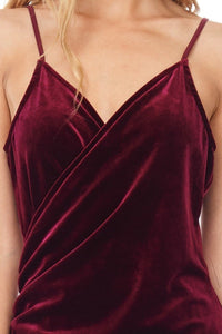 sleeveless long velvet dress wine