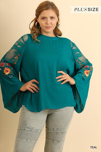 floral embroidered top teal curvy