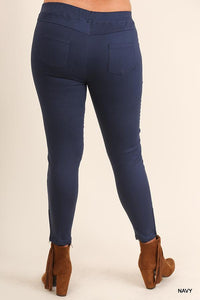 washed jeggings navy curvy
