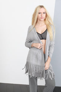 fringe tunic cardigan heather grey