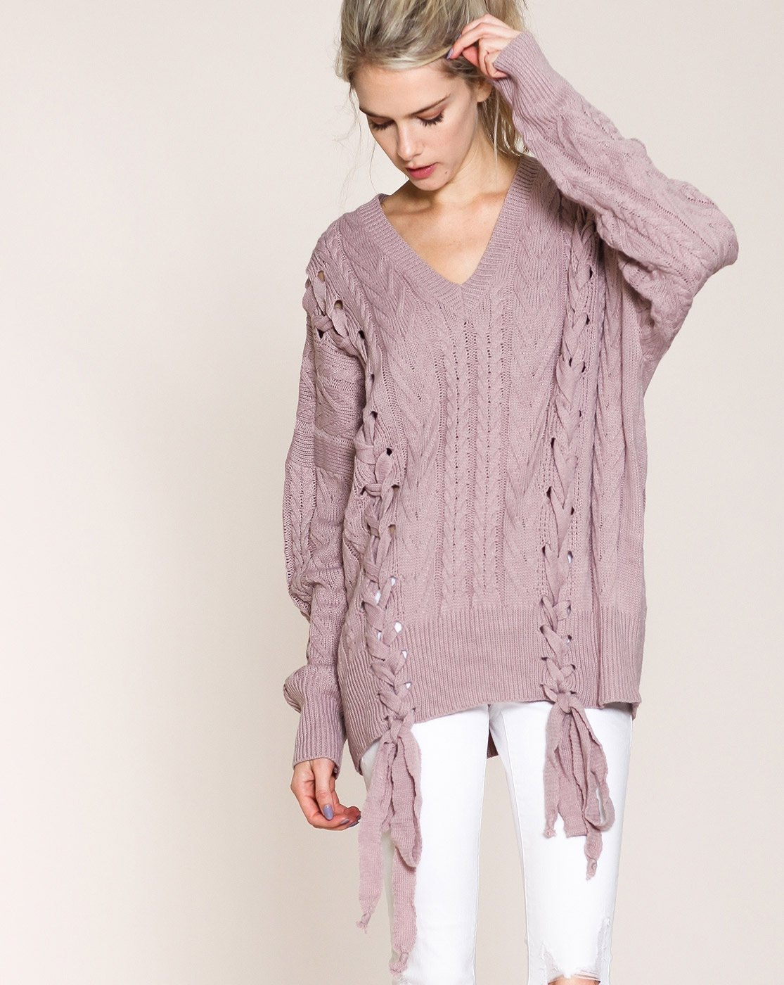 cable knit sweater mauve