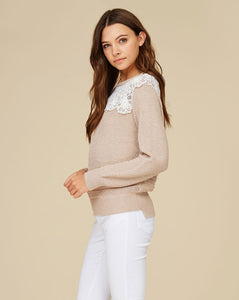 crochet sweater taupe